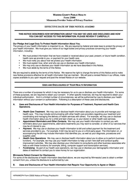 notice  privacy practices form fill  printable