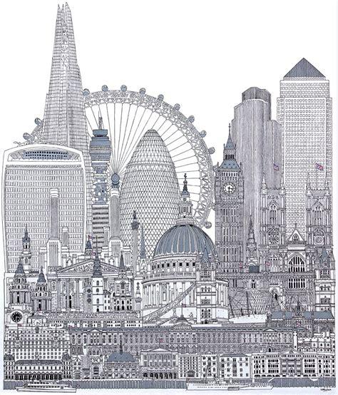 london  large black  white london skyline painting
