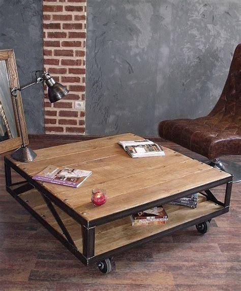 table basse industrielle metal et bois table basse industrielle carr 233 e table basse bois et m 233 tal meubles et rangements par micheli