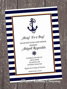 orange and navy nautical anchor invitations with free With nautical chart wedding invitations