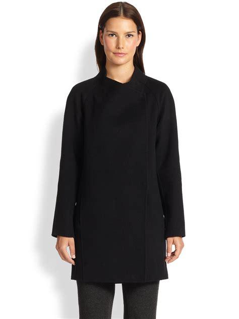 Draped Coats - vince sweater back draped coat in black lyst