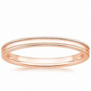 2mm milgrain wedding ring in 14k rose gold With 2mm wedding ring