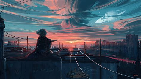 We present you our collection of desktop wallpaper theme: Anime Girl City Sunset Wallpaper