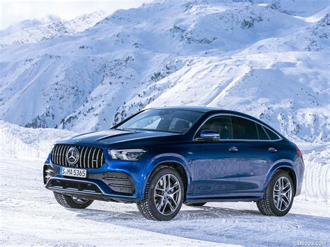 The fastback profile of the gle53 coupe costs more and swallows less stuff than its suv sibling. 2021 Mercedes-AMG GLE 53 4MATIC Coupe (Color: Brilliant Blue Metallic) - Front Three-Quarter ...