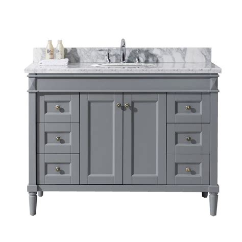 White Vanity With Gray Top by Virtu Usa 48 In W X 22 In D Vanity In Grey With