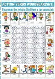 english worksheet action verbs wordsearch