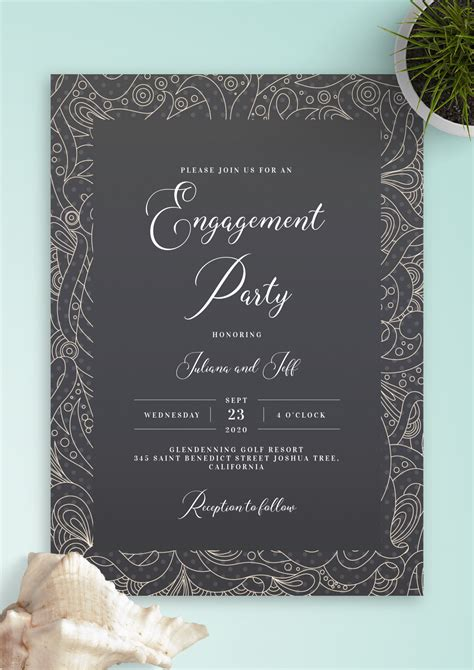 Download Printable Fancy Pattern Engagement Party