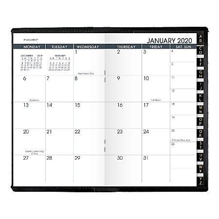 glance month monthly planner black january