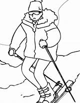 Coloring Skiing Hike Start Point sketch template