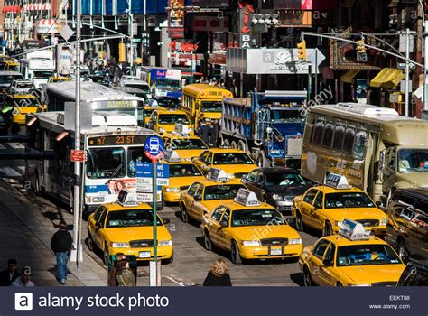 Traffic Jam With Many Vehicles In Times Square, New York