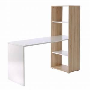 Schreibtisch Mit Regal : schreibtisch mit regal in eiche sonoma und weiss ebay ~ Whattoseeinmadrid.com Haus und Dekorationen