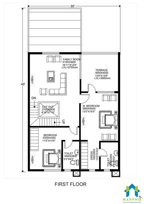 likable 30 x 40 floor plans east facing 3040 house plan