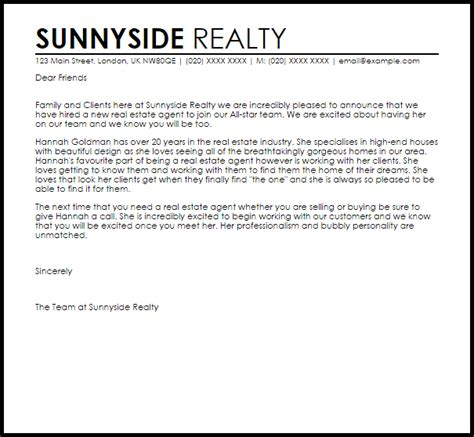 real estate introduction letter to friends template new real estate announcement letter livecareer