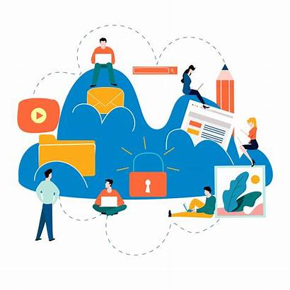 Cloud Computing Services Technology Vector Clipart Graphics