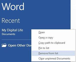 how to clear the recent documents workbooks presentations With recent documents word delete
