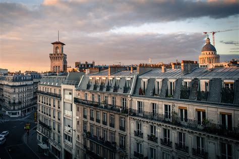 paris rooftops evening  stock photo iso republic