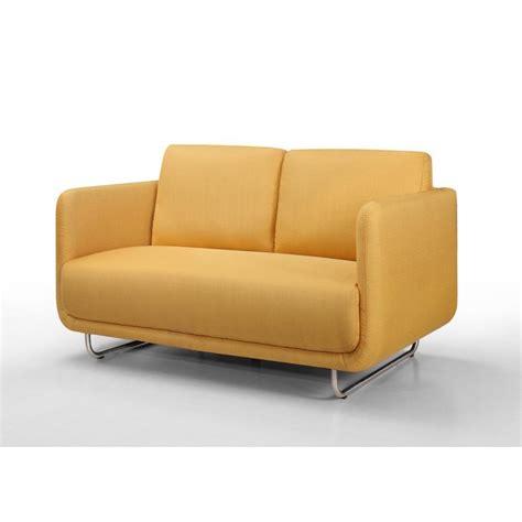 canap droit 2 places canapé droit vintage cubique 2 places jonaz en tissu jaune