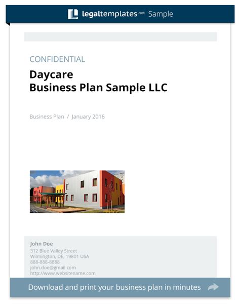 daycare business plan sample legal templates