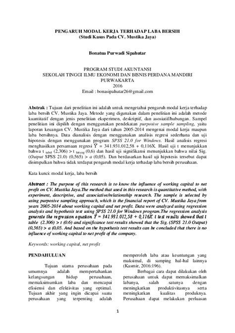 (PDF) PENGARUH MODAL KERJA TERHADAP LABA BERSIH (Studi