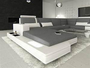 Couch U Form Grau : ecksofa wohnlandschaft messana u form im materialmix beleuchtung stoff grau ebay ~ Indierocktalk.com Haus und Dekorationen