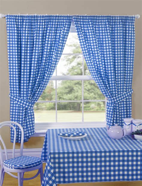 gingham check blue white kitchen curtains priced  clear