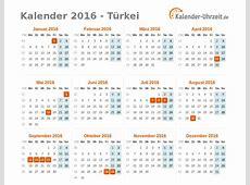 Feiertage 2016 Türkei Kalender & Übersicht
