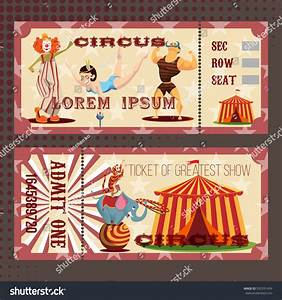 Circus Show Horizontal Tickets Front Back Stock Vector ...
