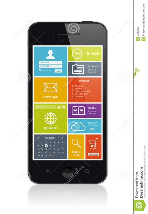 the state of the modern smartphone user interface tested mobile smartphone with modern ui stock image image 33129271