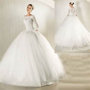 New modest long lace sleeves ball gown wedding dress for Modest ball gown wedding dresses