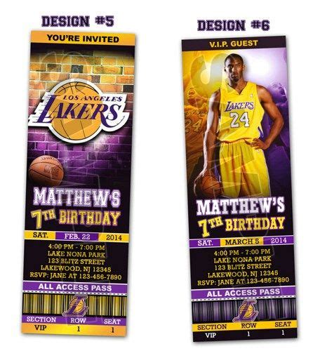 la lakers ticket birthday party invitations printable