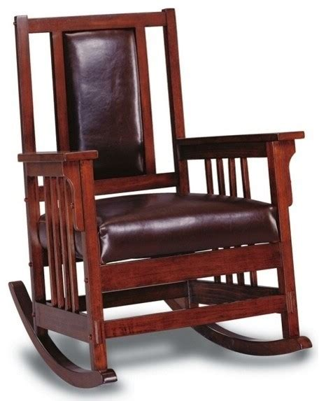 oak finish wood rocker chair with all leather padded