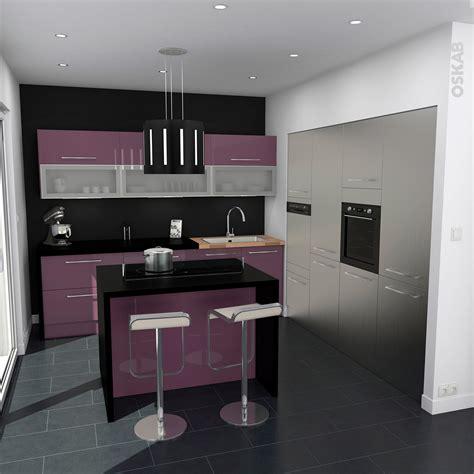 idee cuisine en l cuisine aubergine modèle keria aubergine brillant