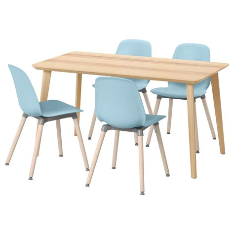 leifarne lisabo table and 4 chairs ash veneer light blue
