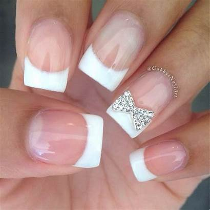 French Tip Bow Nails Nail Designs Sparkling