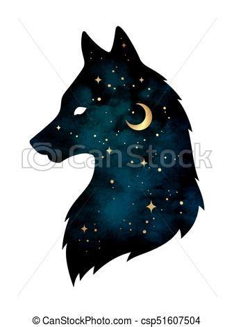 loup silhouette etoiles lune tatouage autocollant