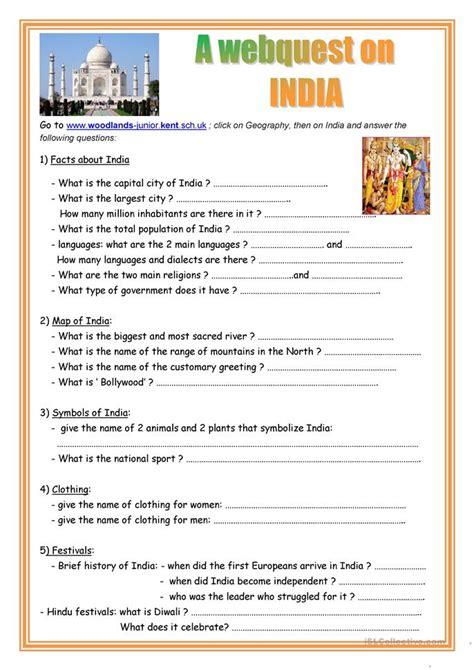 webquest  india worksheet  esl printable