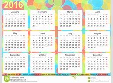 Calendar 2016 Background Colorful Circles USA Stock