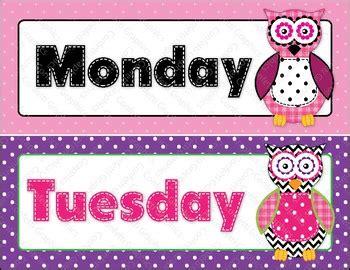 calendar days   week owl polka dot hobo stitched