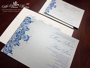 blue and silver wedding invitation sang maestro With wedding invitation designs blue and silver