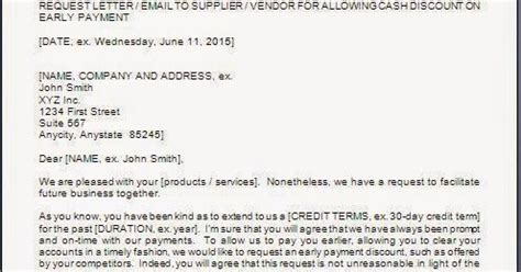 requesting discount  early payment letter
