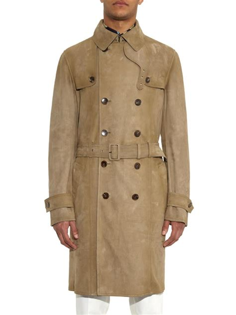 gucci suede trench coat  green  men lyst