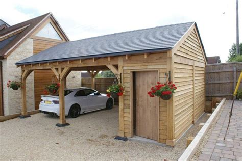 Whether you're looking for a dry place to fire up the bbq on those wet bank. Oak Double Bay Garage with Side Store | Decorating ideas ...