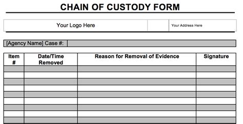 Testing Chain Of Custody Form Template Templates Digital Forensics Incident Response Forms Policies And