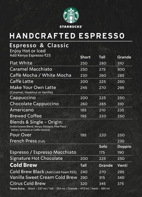 Complete caffeine content of starbucks drinks. Menu of Starbucks Coffee | Starbucks Coffee Menu, Fort, South Mumbai- EazyDiner