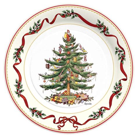 dinner paper plate 10 1 2 quot christmas holly ribbon