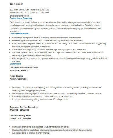 customer service resume executive sumary 8 sle executive summary resumes sle templates