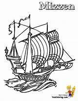 Ship Coloring Pirate Drawing Sailing Boys Template Mizzen Pirates Sunken Boats Yescoloring Sketch Seas sketch template