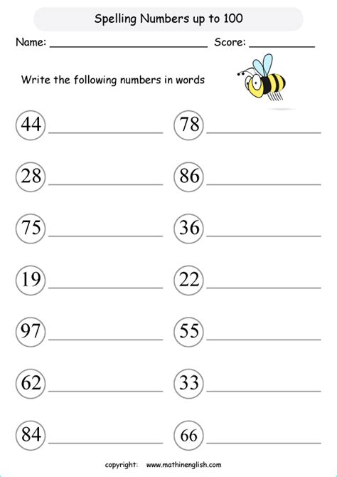 write number words up to 100 math number writing worksheet