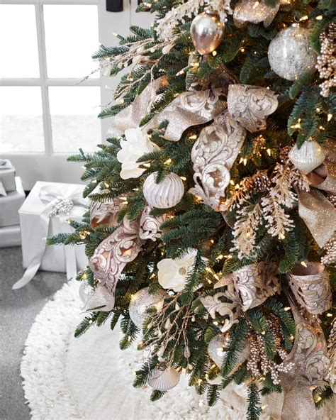 gold  champagne christmas tree ribbon balsam hill
