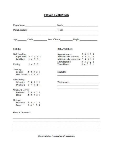 tryout evaluation form hoops  basketball basketball